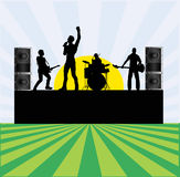 Summer Rock Festival. An illustration of rock group performing outdoors for a festival flyer Royalty Free Stock Photography
