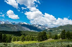 Vacations in Colorado. Picturesque valleys and mountain peaks of the Rocky Mountains. Summer in the Rockies of Colorado, USA. Picturesque green mountains, olive stock photos