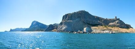 Summer rocky coastline (Crimea, Ukraine) Stock Photos