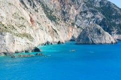 Summer rocky coastline (Lefkada, Greece). Summer rocky coastline view near Porto Katsiki beach on Ionian Sea (Lefkada, Greece Stock Photo