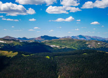 Summer in the Rocky Mountain National Park. In northern Colorado overlooking the high altitude peaks and deep valley near Estes Park Colorado RMNP stock images