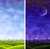 Summer Rolling Vertical Day And Night Landscapes Royalty Free Stock Photos