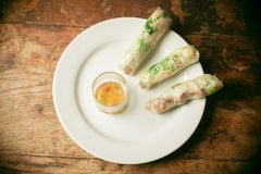 Summer rolls on plate Royalty Free Stock Photography
