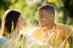 Summer romance - couple together in nature Stock Photo