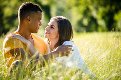 Summer romance - couple together in nature Royalty Free Stock Images