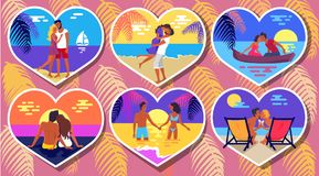 Summer Romance in Heart-Shaped Photos Poster. Summer romance in six heart-shaped photographs vector poster with couple in love spending holidays together on Royalty Free Stock Photography