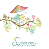 Summer romantic card. With birds in love Stock Image