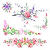 Summer Romantic Watecolor Borders Royalty Free Stock Photography