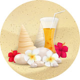Summer round banner with juice Royalty Free Stock Photos