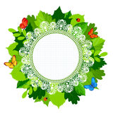 Summer round leaves frame with lace and butterflies. And ladybug. Vector illustration Stock Image