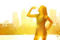 Summer runner drinking Royalty Free Stock Images