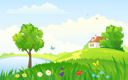 Summer rural day. Illustration of a beautiful rural landscape Stock Images