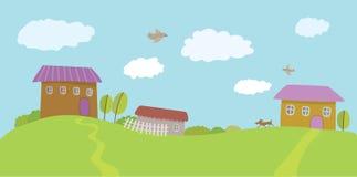 Summer rural landscape. Vector illustration Royalty Free Stock Image