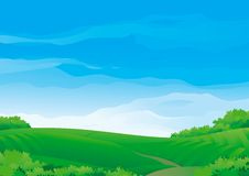 Summer rural landscape. Vector Horizontal Background with Summer meadows During sunny good weather Stock Images