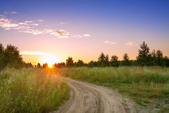 Summer rural landscape with  blue sky, the road Royalty Free Stock Image