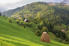 Summer rural landscape in the Carpathian mountains. Summer rural landscape above the village in the Carpathian mountains, in Moeciu - Bran, Romania Stock Photography
