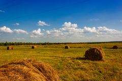 Ranches of hay in a meadow Stock Photo