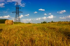Ranches of hay in a meadow Royalty Free Stock Photography