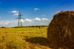 Ranches of hay in a meadow Stock Image