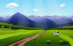 Summer rural landscape with hills, fields and cow. Stock Photography