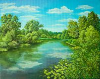 Summer rural landscape in Russia. Sunny day - calm blue summer river with reflection green grass and trees . Original. Summer rural landscape in Russia. Sunny royalty free stock images