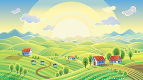 Summer rural landscape with village. Royalty Free Stock Photo