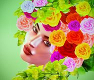 Summer`s beauty, colorful floral hat. Summer`s beauty which is captured upon a divine face that`s framed by an array of exotic roses and matching chic makeup in Stock Image