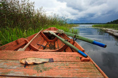Summer's Russian lake scenery. Royalty Free Stock Image