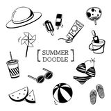 Summer`s stuffs Doodle.Hand drawing of Summer stuff. Summer item in Hand drawing styles Stock Photo