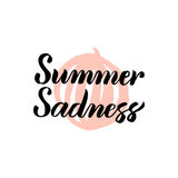 Summer Sadness Calligraphy. Vector Illustration of Lettering and Watermelon Design Element Stock Photography