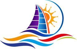 Summer sailboat logo vector illustration