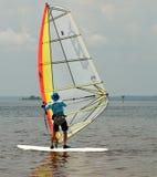 Summer Sailing. Man sailing Hobie Cat off Florida`s Gulf Coast Stock Image