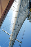 Summer Sails. Looking up at the sails of a large sailing ship Royalty Free Stock Photos