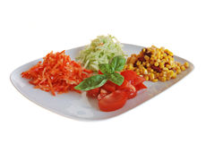 Summer salad. With tomatoe, sweet corn, cucumber and pepper stock image