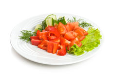 Summer salad. With tomato, cucumbers, red pepper and lettuce Stock Image