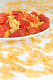 Summer salad. With strawberry and cornflakes Royalty Free Stock Image