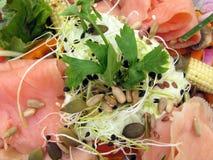 Summer Salad. Smoked Salmon Summer salad lunch Royalty Free Stock Photos