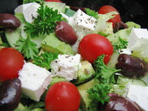 Summer Salad. Salad with cherry tomatoes, kalamata olvies and fetta cheese Stock Photography