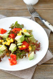Summer salad with avocado, tomatoes and corn on a plate Stock Image