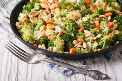 Summer salad with broccoli, carrots and peanuts horizontal Stock Photography