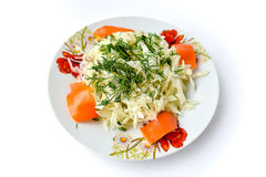 Summer salad: cabbage, peppers and dill Royalty Free Stock Image