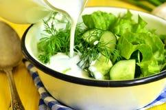 Summer salad from greens. Summer salad from greens with kefir Stock Photos