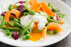 Summer salad with poached egg. Royalty Free Stock Photo