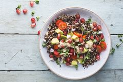 Summer Salad with Quinoa, Avocado, Tomatoes, Tahini Sauce and Germinated seeds. On blue background Stock Images