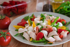 Summer salad with turkey breast, greens, tomato and mozzarella. Top view. Close-up Royalty Free Stock Images