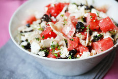 Summer salad with watermelons, greek feta cheese and olives Royalty Free Stock Image