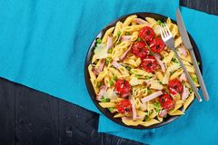 Summer Salad With Pasta Penne, Close-up Stock Images