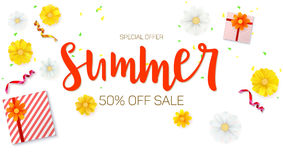 Summer sale ad banner. Top view. Gift box with red ribbon and bow, burning, lighted candle, with serpentine and confetti. On white background. Template for Stock Image