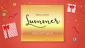 Summer sale ad, selling banner on gold background. Gift box with red ribbon and bow, burning, lighted candle, with Stock Photos