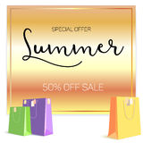 Summer sale ad, selling banner on gold background. Paper shopping bags with labels purchased items. Bright, noticeable. Selling banner ad. Advertising sign with Royalty Free Stock Photo